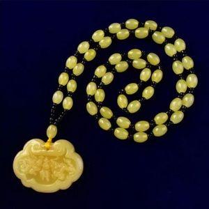 Man-made Yellow Jade Safe Lock Necklace